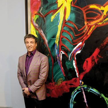 Sylvester Stallone poses at the Museum of Contemporary Art in Nice, France